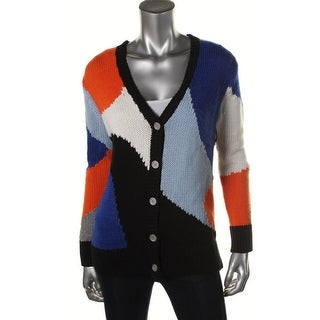Two by Vince Camuto Womens Colorblock Long Sleeves Cardigan Sweater - S