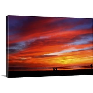 """""""Very colorful sunset at Silver Strand State Beach"""" Canvas Wall Art"""