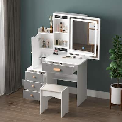 Kerrogee Makeup Vanity Set with Sliding Adjustable Lighted Mirror & Stool - Hidden Shelves & 4 Drawers - Gray