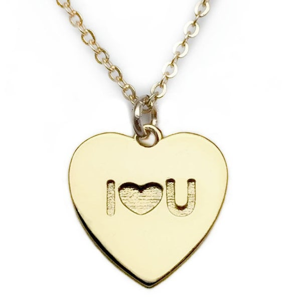 Julieta Jewelry 'I Heart U' Heart Plate Charm Necklace