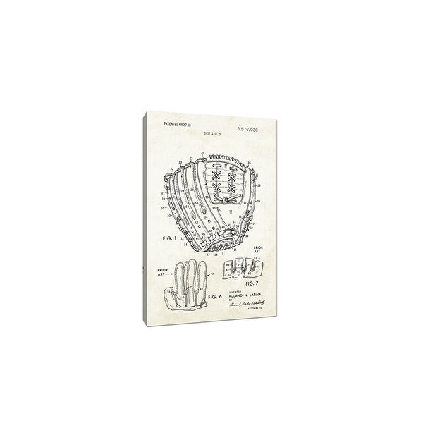 Baseball Glove Canvas (Aged Paper) - Sports Patents - 20x12 Canvas
