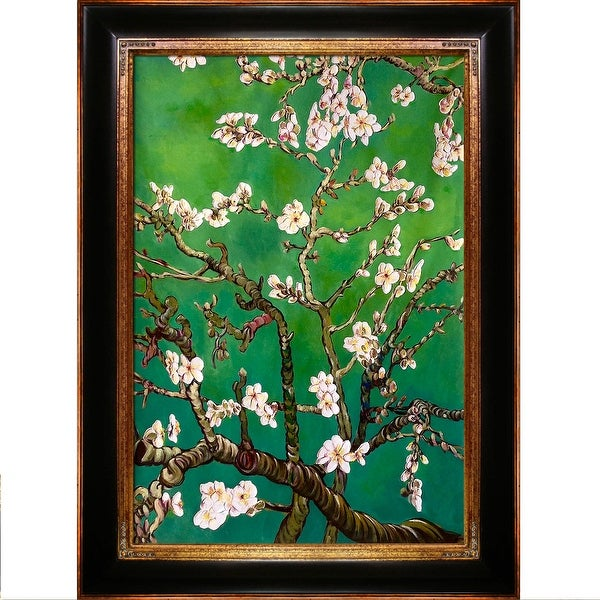 La Pastiche Original 'Branches of an Almond Tree in Blossom, Emerald Green' Hand Painted Oil Reproduction