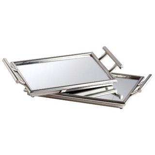 "Cyan Design 5820 21.75"" x 12.5"" Mirror Nesting Tray - Stainless Steel"