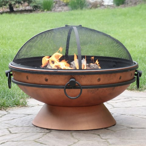 Sunnydaze Royal Cauldron Copper Fire Pit with Handles and Spark Screen - 30-Inch
