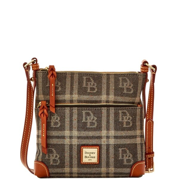 Dooney & Bourke DB Plaid Jacquard Letter Carrier (Introduced by Dooney & Bourke at $168 in Jul 2016) - Black