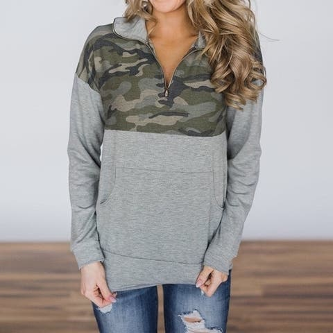 Lilly Posh Soft Zip Neck Pullover With Camo Detail