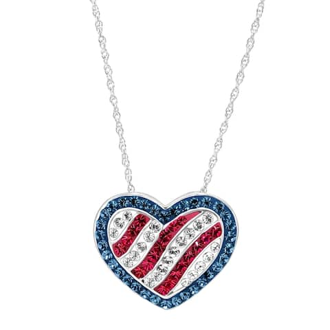 Crystaluxe American Flag Pendant With Crystals in Sterling Silver - Blue