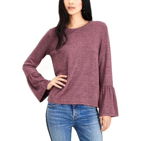 Lucky Brand Womens Pullover Sweater Heathered Bell Sleeves