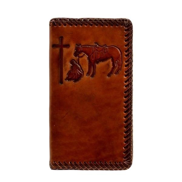 Nocona Western Wallet Mens Leather Embossed Cross Rodeo Tan