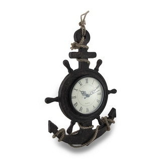 Textured Ship Anchor and Wheel Wall Clock w/Natural Rope Accent - 13 X 9 X 1 inches