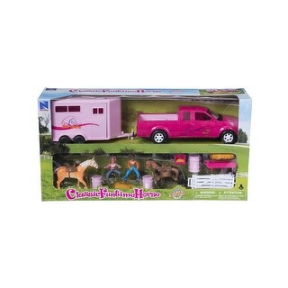 Tough-1 Western Toy Plastic Assorted Horses Truck & Trailer 87-99052