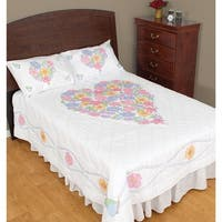 Stamped White Quilt Top -Flowers & Hearts