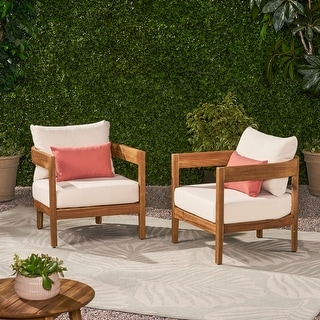 Brooklyn Outdoor Acacia Wood Club Chair with Cushions (Set of 2) by Christopher Knight Home