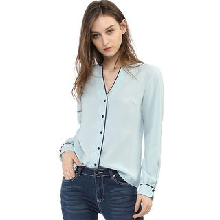Women's Button Down Long Sleeves Contrast Trim V Neck Elegant Blouse Top
