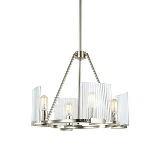 "Sea Gull Lighting 3126104 Storey 4 Light 20-5/8"" Wide Chandelier with Ribbed Gla"