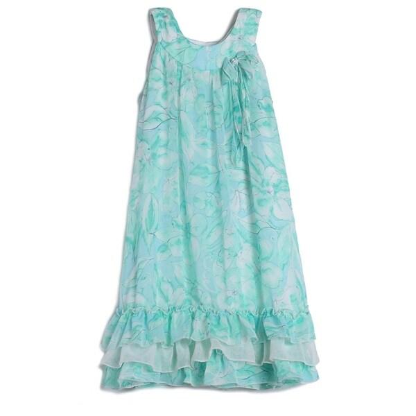 6444b4615aea5 Isobella & Chloe Girls Aqua Sleeveless Ruffle Bow Party Dress