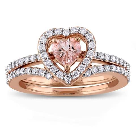 Miadora Signature Collection 10k Rose Gold Morganite and 1/2ct TDW Diamond 2-Piece Bridal Ring Set - Pink