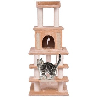 Gymax 52'' Cat Tree Pet Kitten Play House Tower Condo Scratching Post