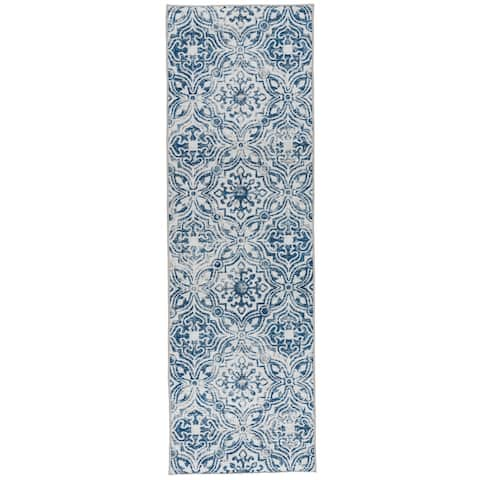 "ReaLife Machine Washable Rug - Mosaic Tile - Blue - 2'6"" x 8' - 2'6"" x 8'"