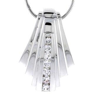 Sterling Silver High Polished Fan Shaped Slider Pendant w// Graduated CZ Stones