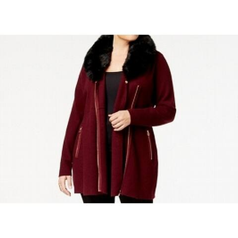 Belldini Red Womens Size Large L Faux-Fur Zip Cardigan Sweater