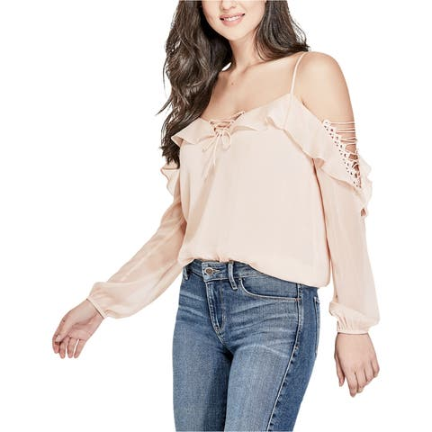 Guess Womens Lace-Up Knit Blouse
