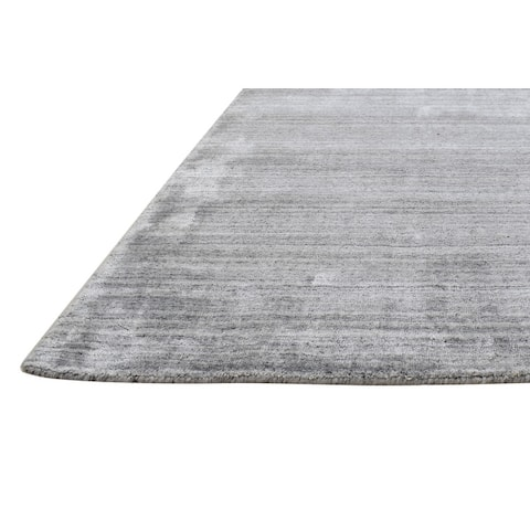 One of a Kind Hand-Woven Modern 5' x 8' Solid Wool Grey Rug - 5' x 6'