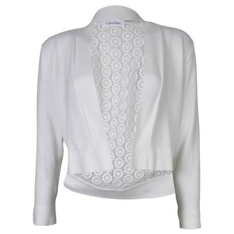 Calvin Klein Women's Plus Crochet Back Crop Cardigan - White