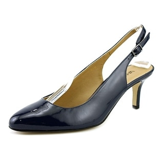 Vaneli Luella Women Pointed Toe Patent Leather Blue Slingback Heel