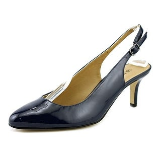 Vaneli Luella Women W Pointed Toe Patent Leather Blue Slingback Heel