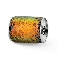 Sterling Silver Reflections Orange Dichroic Glass Barrel Bead (4mm Diameter Hole)
