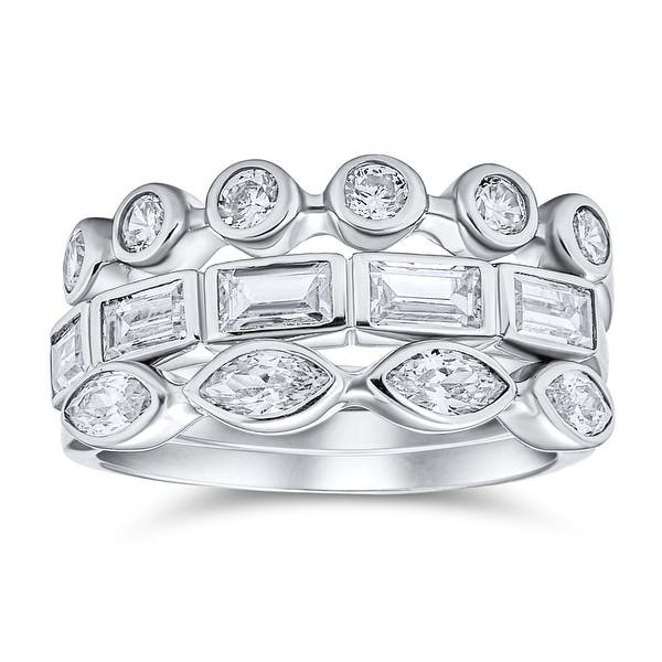 Vintage Style Cubic Zirconia CZ Thin Stackable Bubble Round Marquise Anniversary Wedding Band Ring 925 Sterling Silver