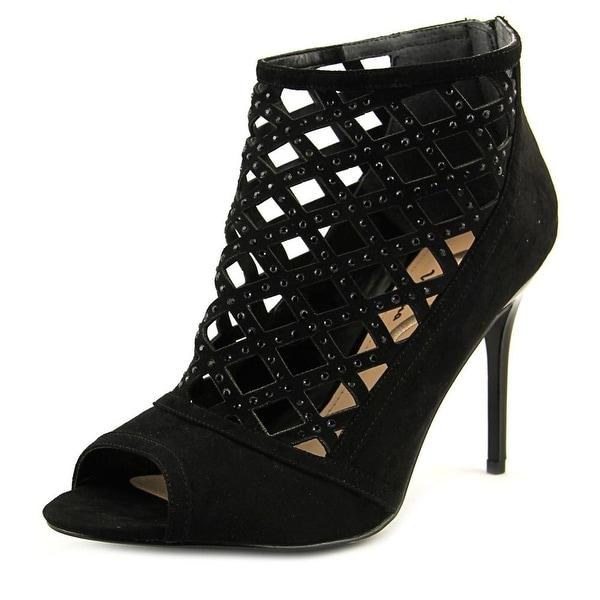 Nina Charee Women Open Toe Suede Black Sandals