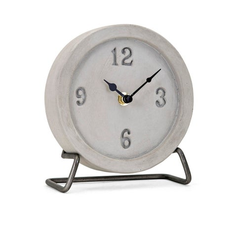 "7"" Gray and Black Rustic Finish Decorative Desk Clock with Framework Stand"