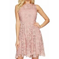 CeCe Blush Pink Women's Size 4 Floral Lace Knit A-Line Dress