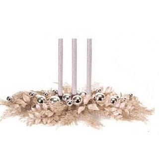 """30"""" Champagne Cedar Pine and Silver Ball Ornament Christmas Taper Candle Holder Centerpiece"""