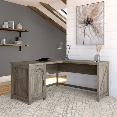 Cottage Grove 60W L Shaped Desk with Storage by Bush Furniture