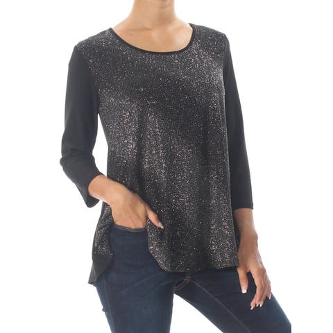 NY COLLECTION Womens Black Glitter 3/4 Sleeve Top Petites Size: XS