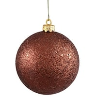 60mm Glitter Brown Ball Ornament with Wire - Pack of 12