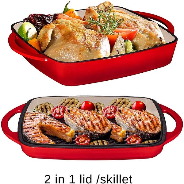 2 in 1 Enameled Cast Iron Square Casserole Baking Pan. Opens flyout.