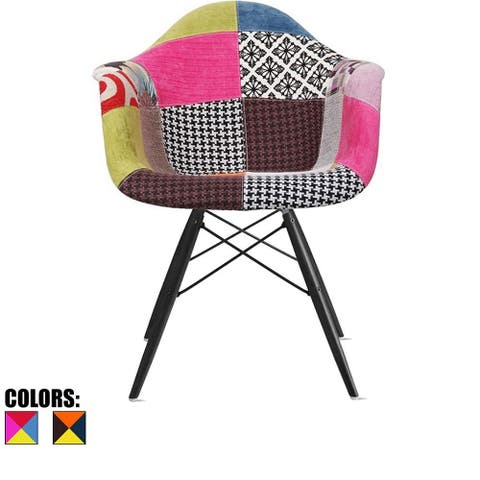 2xhome Modern Plastic Armchair with Arm Dining Chair Patchwork Fabric with Dark Black Wood Legs