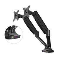 """FLEXIMOUNTS M6HU Heavy Duty Gas Spring Dual Arms Desk Mount Fits Most 10-27"""" LCD Computer Monitor with USB Ports"""