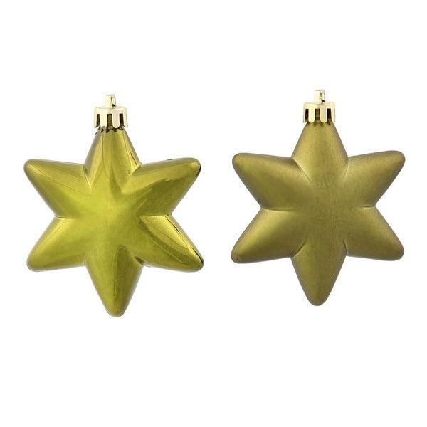 "36ct Matte & Shiny Olive Green Star Shatterproof Christmas Ornaments 1.5""-2"""