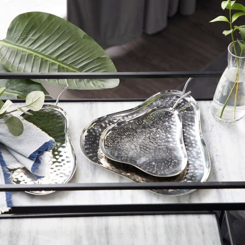 Silver Metal Contemporary Tray (Set of 3) - 12 x 14 x 2