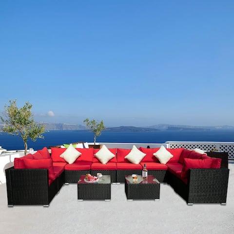 Zenova 12 Pieces Outdoor Patio Furniture sets Steel Frame PE Rattan Sofa