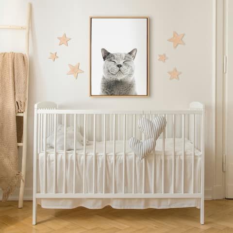 Kate and Laurel Sylvie Smiling Cat Framed Canvas by Amy Peterson