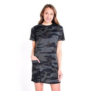 Camouflage Printed Dress - charcoal camouflage