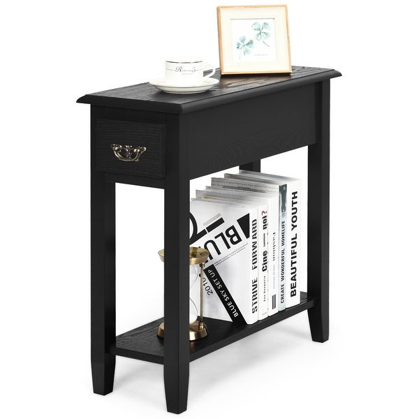 Gymax 2 Tier End Bedside Sofa Side Table Narrow Nightstand w/Drawer - See Details. Opens flyout.