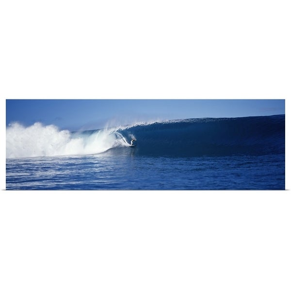 """""""Surfer in the sea, Tahiti, French Polynesia"""" Poster Print"""