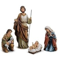 "4 Piece Set Holy Family With Shepherd  18"" - Green"